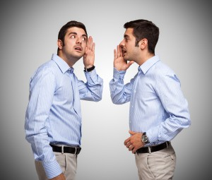 Man talking to a clone of himself
