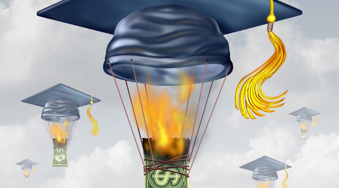 Education cost and high school fees as a graduation hat shaped as a hot air balloon being lifted up by the flames of the  burning of money as a metaphor for financial money stress.